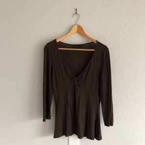 🌻 The Limited Brown Top 3/4 Sleeves